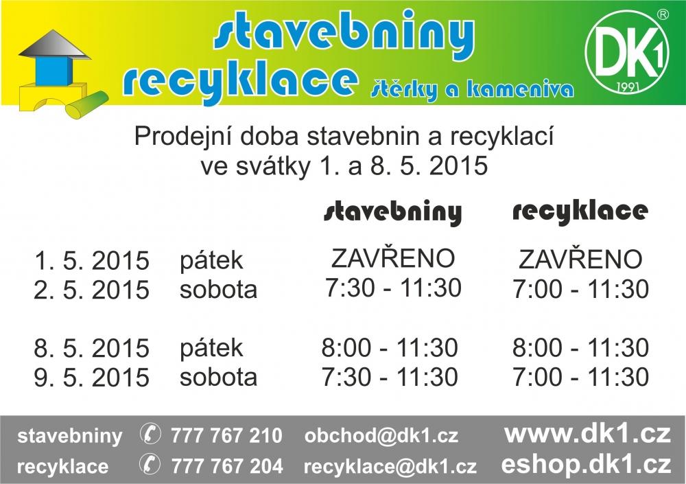 Prodejní doba 1. 5. a 8. 5. 2015 - Novinky - DK1    Nízkoenergetické ... ba170643ce8